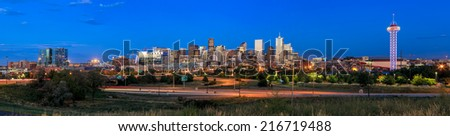 Panorama of Denver skyline long exposure at twilight. - stock photo