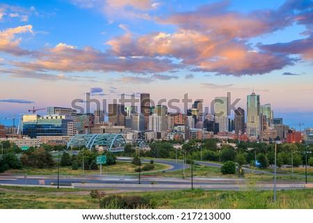 Panorama of Denver skyline long exposure at twilight. - stock photo