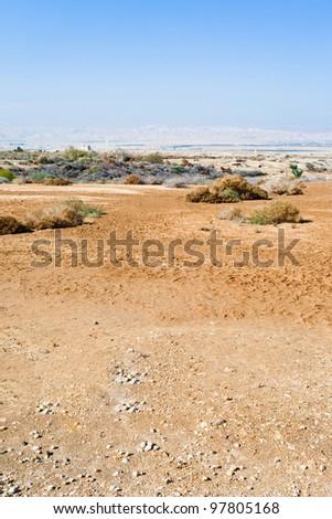 panorama of desert lands near  baptism site in the Jordan River Valley - stock photo