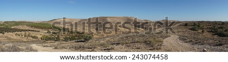 Panorama of deserted mountain - stock photo