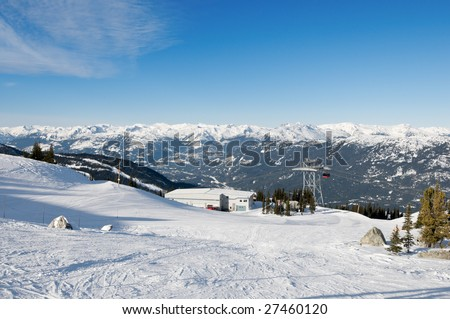 Panorama of distant mountain range from ski slopes at winter resort