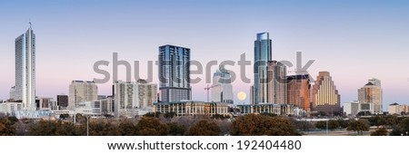 Panorama of Downtown Austin With Full Moon - stock photo
