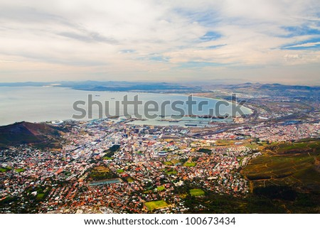 Panorama of downtown Cape Town's city with coastline and dock