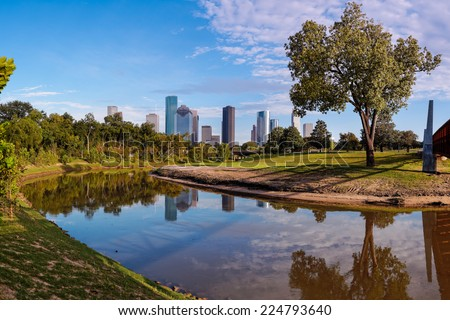 Panorama of Downtown Houston from Buffalo Bayou Park - stock photo