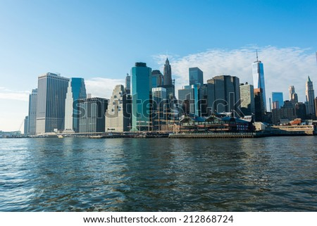 Panorama of downtown Manhattan - stock photo