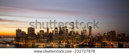 Panorama of Downtown Manhattan skyline and the East River at sunset,  - stock photo