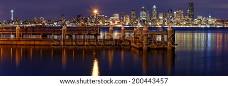 Panorama of Downtown Seattle from Alki Beach