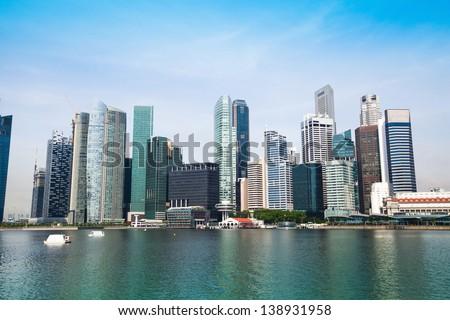 Panorama of downtown Skyline Singapore - stock photo