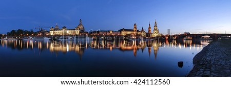 Panorama of Dresden at evening with Elbe River and historical buildings, Saxony (Sachsen), Germany, Europe