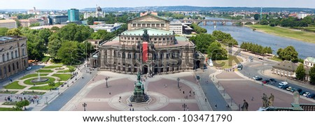Panorama of Dresden, Germany. Semper Opera House,  Cityscape. Skyline - stock photo