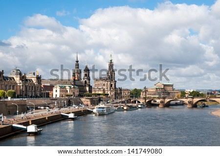 Panorama of Dresden Old Town across the water - stock photo