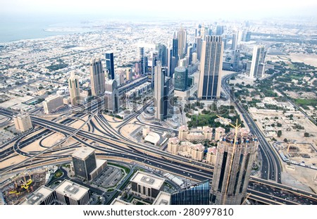 panorama of Dubai  - stock photo