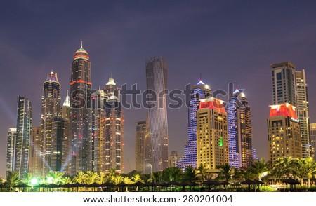 Panorama of Dubai marina,Dubai,United Arab Emirates - stock photo