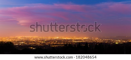 Panorama of Dublin City at Blue Hour - stock photo