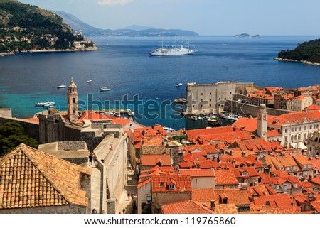 Panorama of Dubrovnik from the City Walls, Croatia - stock photo