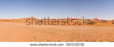 Panorama of Dunes in Namib Desert , Namibia - stock photo