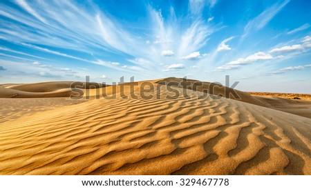 Panorama of dunes of Thar Desert. Sam Sand dunes, Rajasthan, India - stock photo