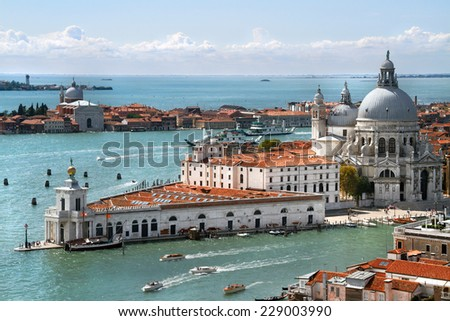 Panorama of east part of Dorsoduro. View of the Grand Canal and Basilica Santa Maria della Salute, Venice, Italy - stock photo