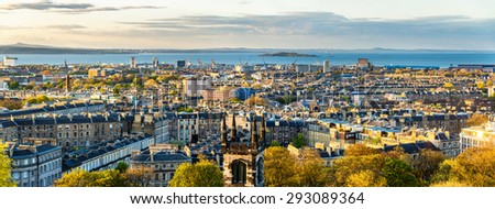 Panorama of Edinburgh from Calton Hill - Scotland - stock photo