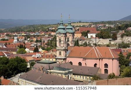 Panorama of Eger city, Hungary - stock photo