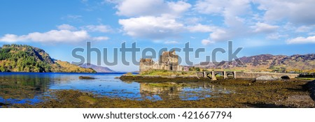 Panorama of  Eilean Donan Castle in Highlands of Scotland                        - stock photo