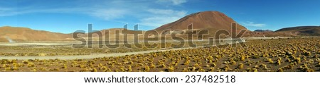 Panorama of El Tatio geyser field in the Andes Mountains, Chile - stock photo