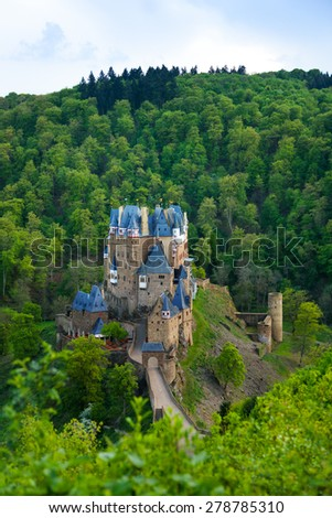 Panorama of Eltz castle in the forests view above  - stock photo