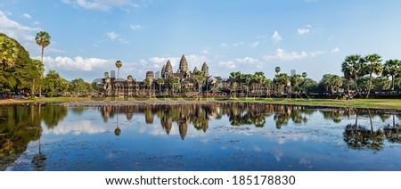 Panorama of famous Cambodia landmark Angkor Wat - stock photo