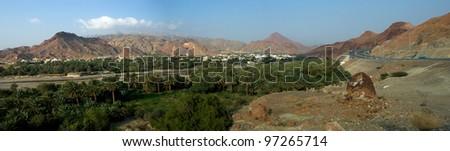 Panorama of Fanja south of Muscat - stock photo