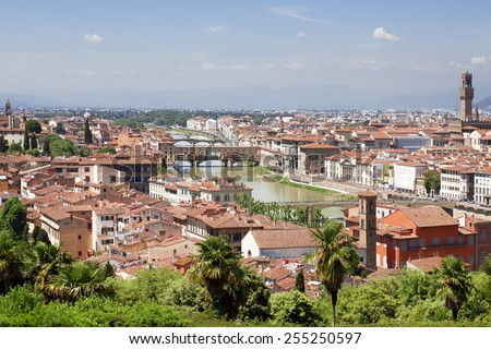 Panorama of Florence with famous bridge Ponte Vecchio over Arno river