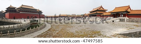 Panorama of Forbidden City in Beijing, China - stock photo