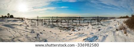 Panorama of frozen fjord Kurefjorden in winter, Rygge, Norway - stock photo