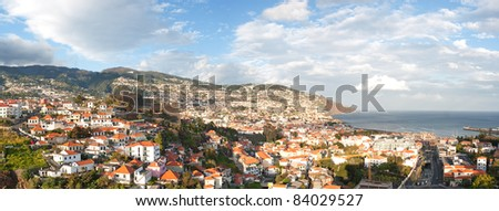 panorama of funchal on madeira island, portugal - stock photo