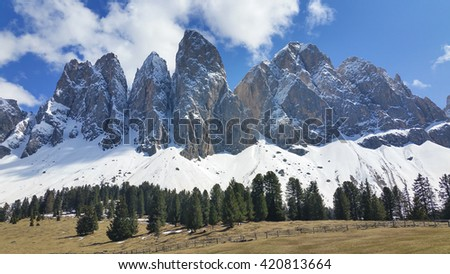 Panorama of Geisler mountains, Val di Funes, South Tyrol, Italy