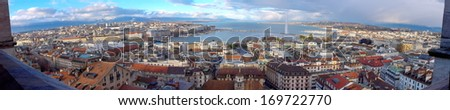 Panorama of Geneva city by beautiful day from cathedral famous Saint-Pierre, Switzerland (HDR) - stock photo