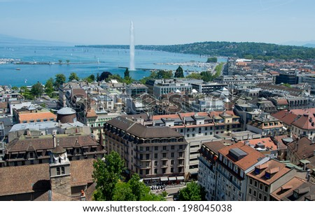 Panorama of Geneva including Lake and famous fountain..