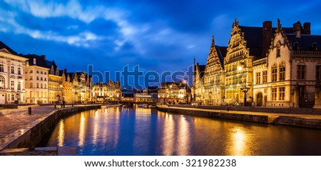 Panorama of Ghent canal, Graslei and Korenlei streets in twlight the evening. Ghent, Belgium - stock photo