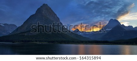 Panorama of Glacier National Park at dusk - stock photo