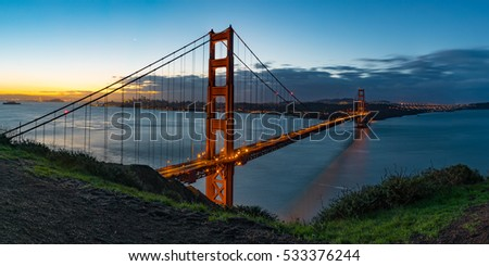 Panorama of Golden Gate Bridge and San Francisco Skyline as seen from Battery Spencer, Golden Gate National Recreation Area