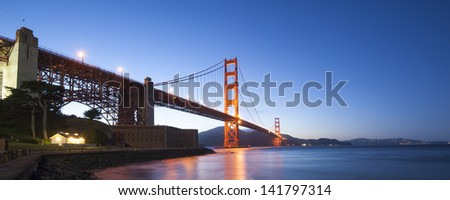 Panorama of Golden Gate Bridge with San Francisco skyline in the background - stock photo