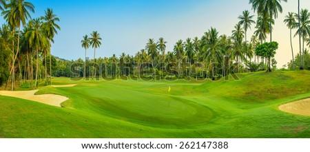 Panorama of golf course on Koh Samui - stock photo