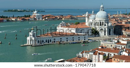 Panorama of Grand Canal and Basilica Santa Maria della Salute, Venice, Italy - stock photo