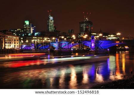 Panorama of Greater London at nigh/North Thames bank side/London - stock photo