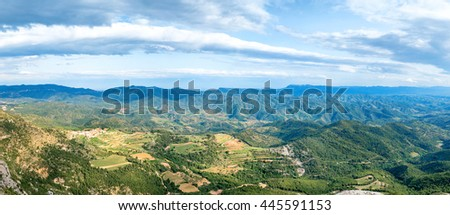 Panorama of green mountains Pyrenees near Barcelona, Spain