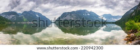 Panorama of Hallstatter lake in Alps mountains, Austria - stock photo
