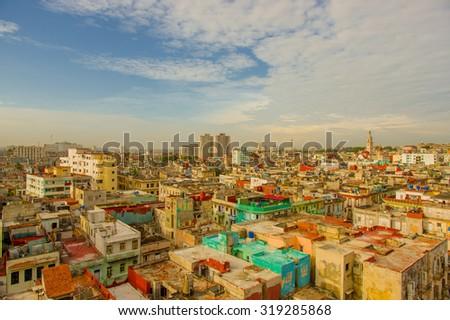 Panorama of Havana city Vedado District - stock photo