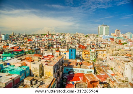 Panorama of Havana city Vedado District, aerial view - stock photo