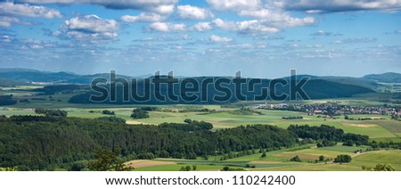 Panorama of Hesse mountain country in Germany