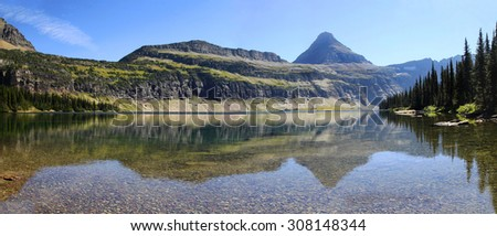 Panorama of Hidden Lake in Glacier National Park - stock photo