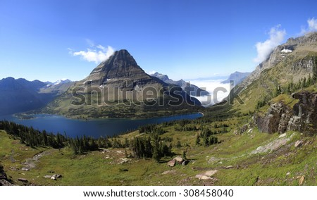 Panorama of Hidden Lake in Glacier National Park, Wyoming - stock photo